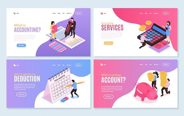 Isometric accounting horizontal banners collection with four isolated compositions editable text with clickable links and buttons vector illustration Free Vector