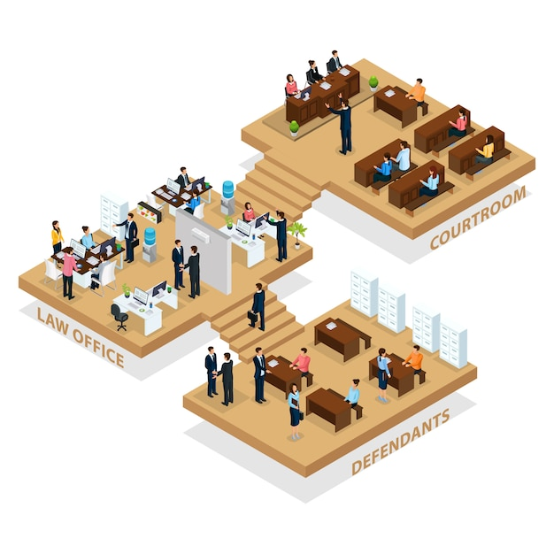Изометрическая концепция адвокатуры с людьми, посещающими адвокатскую контору для защиты клиентов, и изолированным адвокатом, защищающим ответчика в зале суда Premium векторы