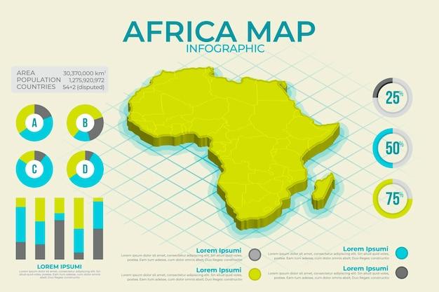 Изометрические африка карта инфографики Бесплатные векторы