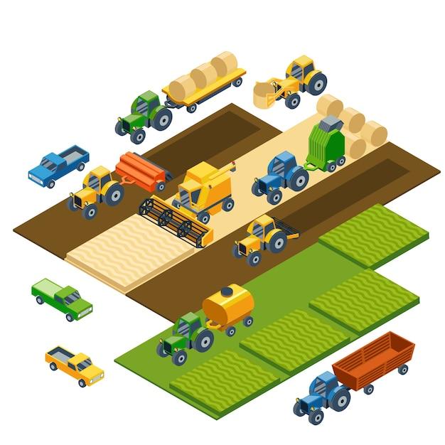 아이소 메트릭 농업 장비, 농장 트랙터, 콤 베인, 트레일러 및 픽업. 운송 픽업, 필드 자연 경관, 수확 및 곡물, 잔디 및 밀. 무료 벡터