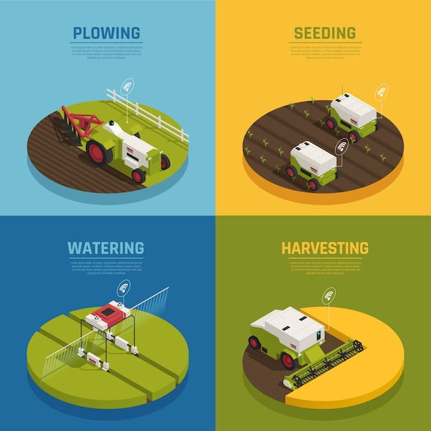 Isometric agriculture automation banner collection Free Vector