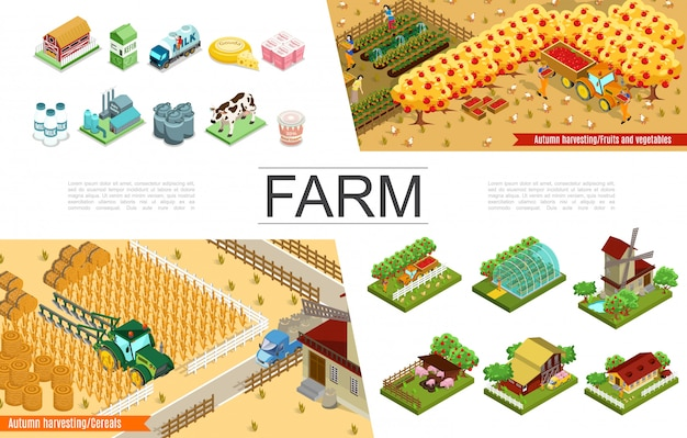 Isometric agriculture elements collection with farms windmill harvesting farmers greenhouse fruits animals trees agricultural vehicles dairy factory and products Free Vector