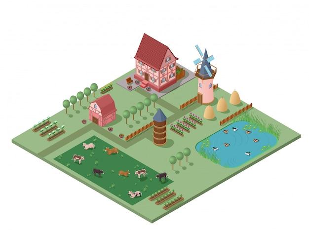 Composizione rurale di agricoltura isometrica Vettore gratuito