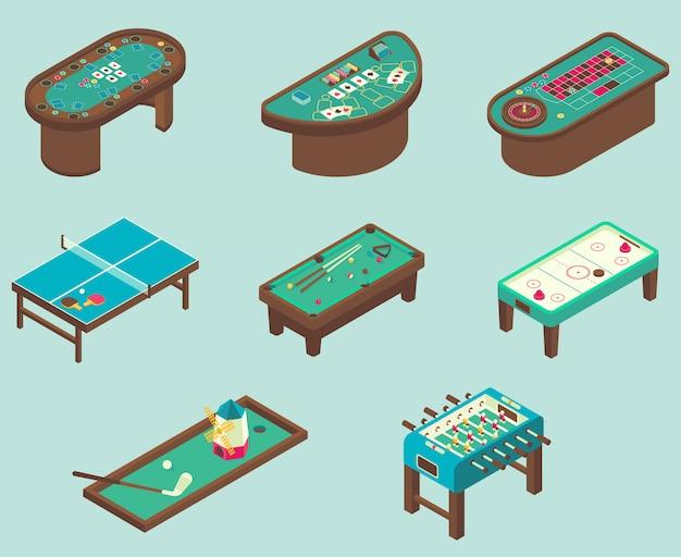 Isometric of air hockey, pool, football, minigolf, ping pong tables Premium Vector