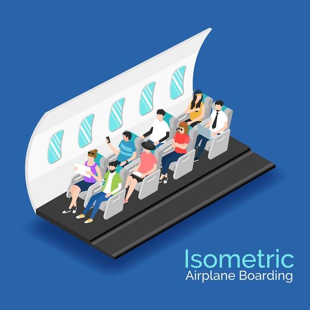 Изометрические концепция посадки на самолет Бесплатные векторы
