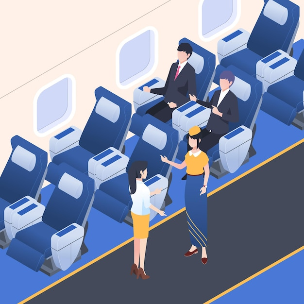 Isometric airplane boarding concept Free Vector