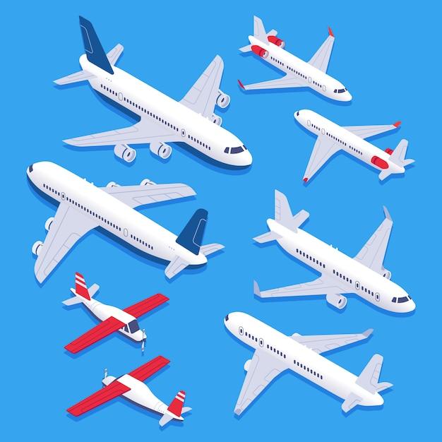 等尺性飛行機。旅客機、民間航空機、飛行機。航空飛行機3 d分離セット Premiumベクター