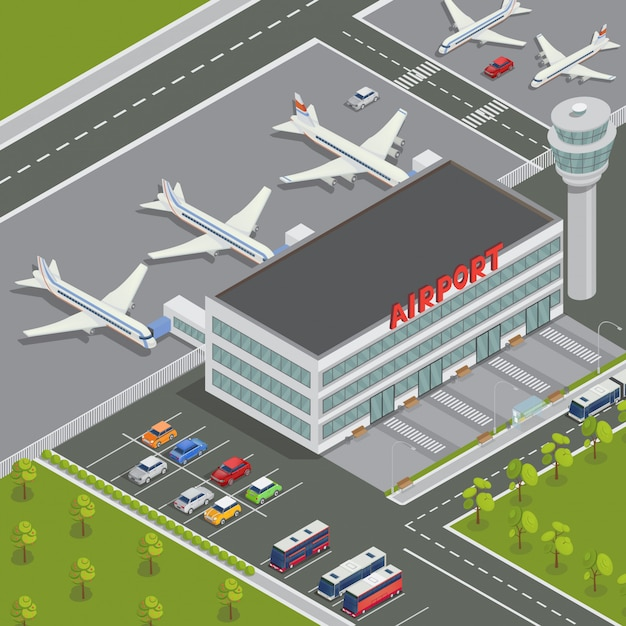 Isometric airport building. airport terminal with planes. travel air. passenger airplane. vector illustration Premium Vector