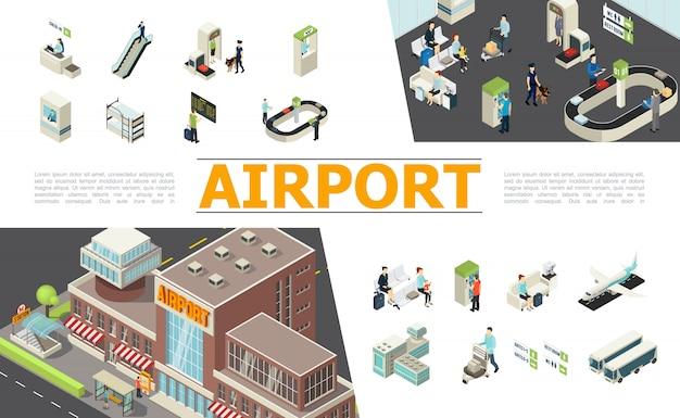 Изометрические элементы аэропорта, установленные со стойкой регистрации, эскалатор, таможенный паспортный контроль, табло вылета, зал ожидания, ленточный транспортер, самолеты, пассажиры, рабочие Бесплатные векторы