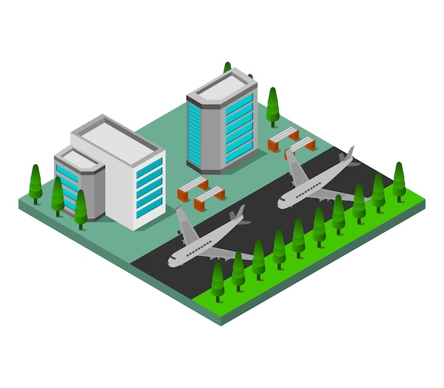Isometric airport Free Vector