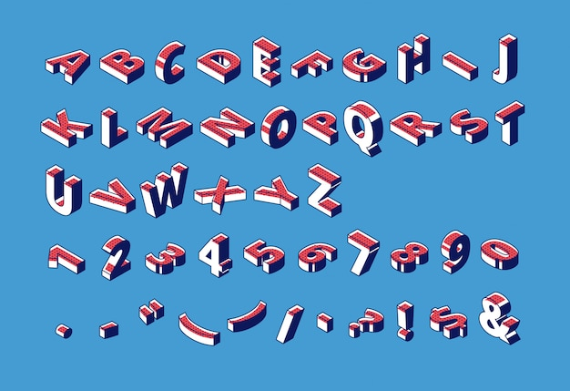 Isometric alphabet, abc, numbers and punctuation. Free Vector