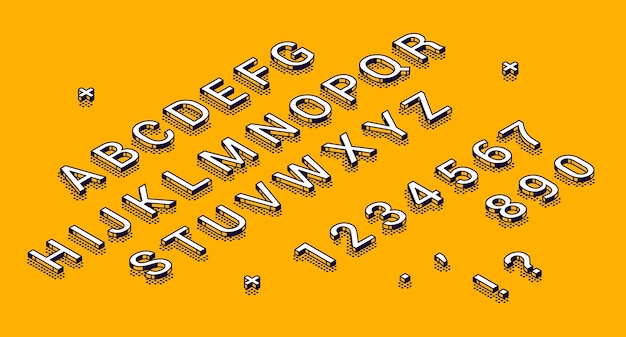 Isometric alphabet, numbers and punctuation marks lying in row Free Vector