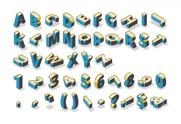 Isometric alphabet, numbers and punctuation marks Free Vector