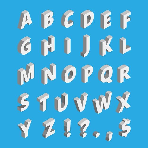 Isometric alphabet. techno font with block letters Premium Vector