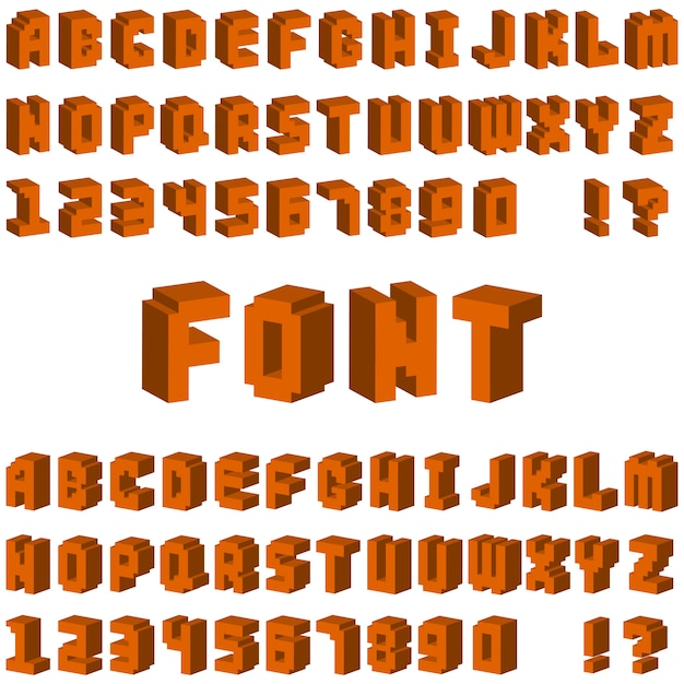 Isometric alphabet typography text and isometric alphabet perspective letter art. isometric alphabet latin number retro 3d typeface Premium Vector