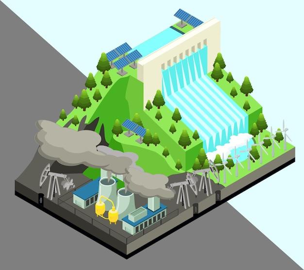 Concetto di produzione di energia alternativa isometrica con centrale nucleare di mulini a vento e stazione idroelettrica isolata Vettore gratuito