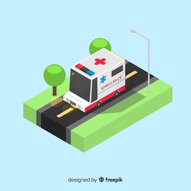 Isometric ambulance concept Free Vector