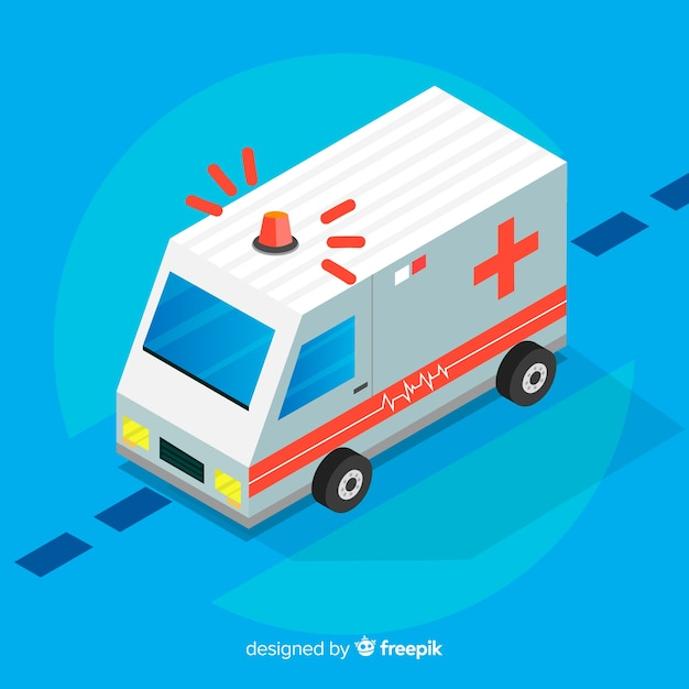 Isometric ambulance concept Free Vector