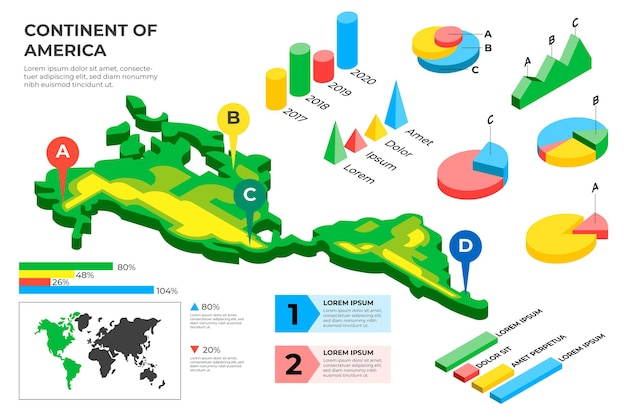 Изометрические карта америки инфографики Бесплатные векторы