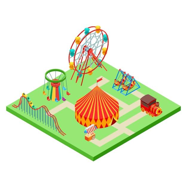 Isometric amusement park Premium Vector