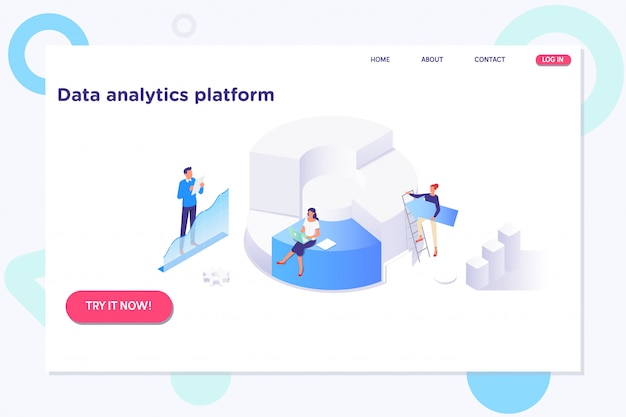 Isometric analysis data and investment.technology information concept Premium Vector