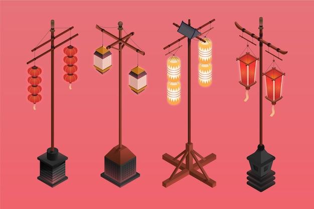 等尺性古代日本の長い提灯 無料ベクター