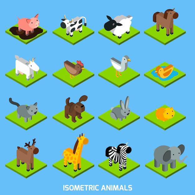 Isometric animals set Free Vector