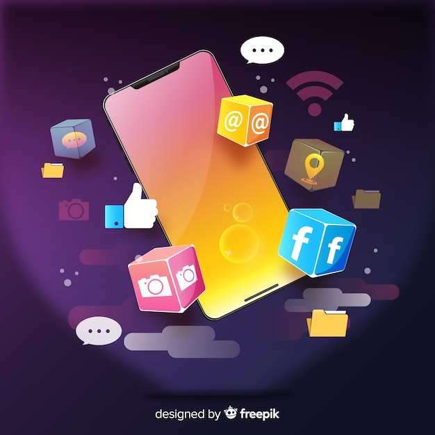 Isometric antigravity mobile phone with apps and notifications Free Vector