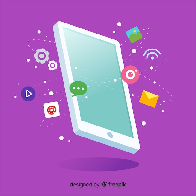 Isometric antigravity mobile phone with elements Free Vector