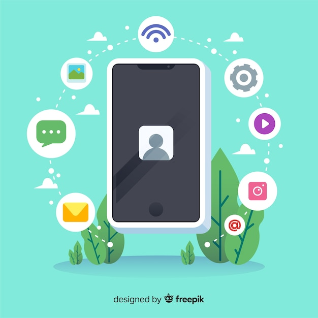 Isometric antigravity mobile phone with icons Free Vector