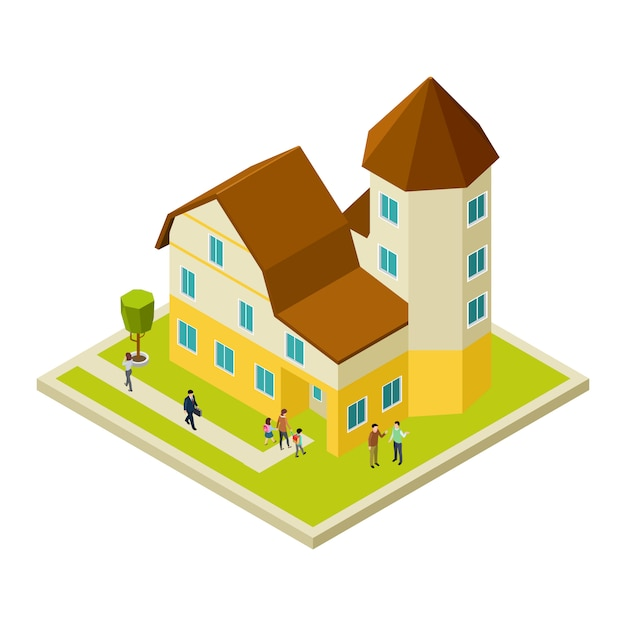Isometric apartment house and people Premium Vector