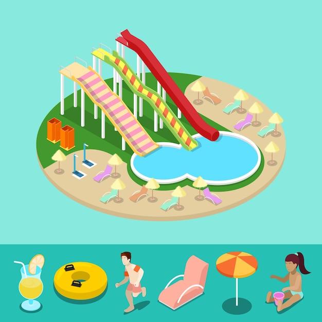 Изометрический аквапарк с водными горками и бассейном. летний отпуск. векторная иллюстрация 3d плоский Premium векторы