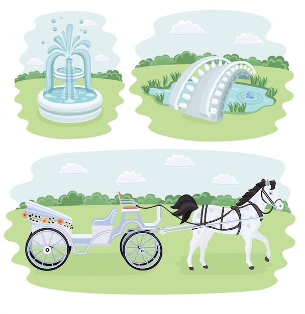 交差点、公園の装飾、バリケード、その他のオブジェクトの等尺性アーキテクチャセット。花、噴水、橋の要素も含まれます。 Premiumベクター