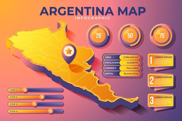 Изометрические карта аргентины инфографики Бесплатные векторы