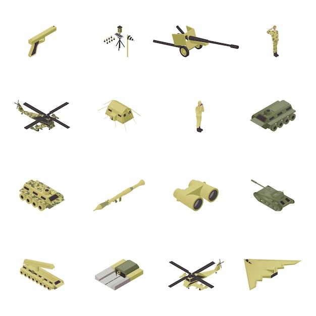 等尺性軍の図、戦争のための軍事兵器、銃デザイン分離セット。武装したカモフラージュの人々の戦闘コレクション、ユニフォームとオブジェクトフォースの兵士、車両、タンク。ヘリコプター、船 Premiumベクター