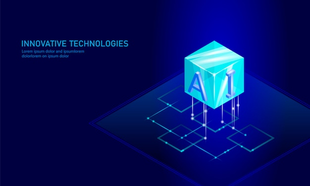 Isometric artificial intelligence business Premium Vector