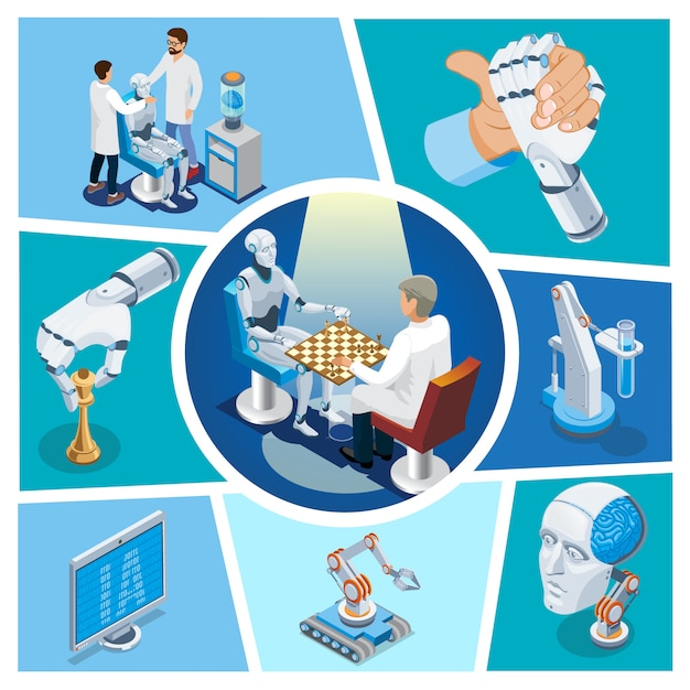 Isometric artificial intelligence composition with robot playing chess versus scientist cyborg head monitor arm wrestling with robotic hand Free Vector
