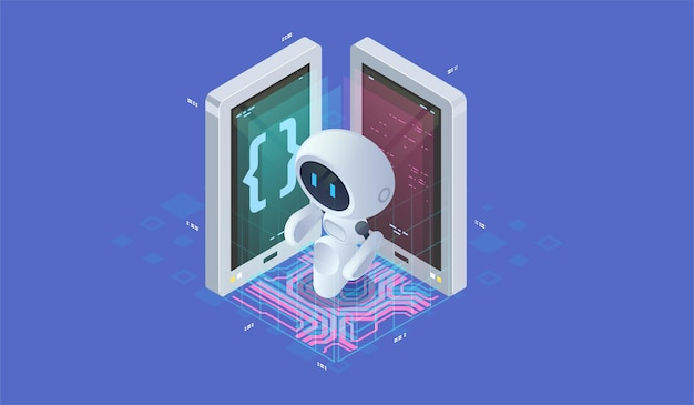 Isometric artificial intelligence. neuronet or ai technology background with small robot. chat bot