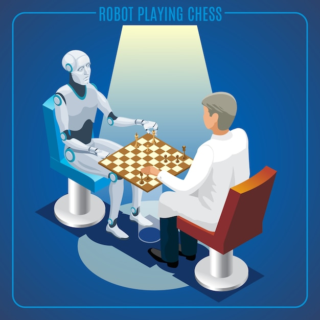Isometric artificial intelligence technology concept of robot playing chess with scientist isolated Free Vector