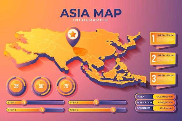 Изометрические карта азии инфографики Бесплатные векторы