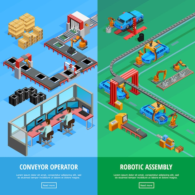 Isometric assembly concept Free Vector