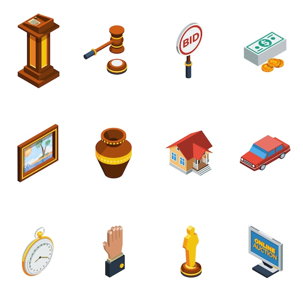 Isometric auction icon set Free Vector