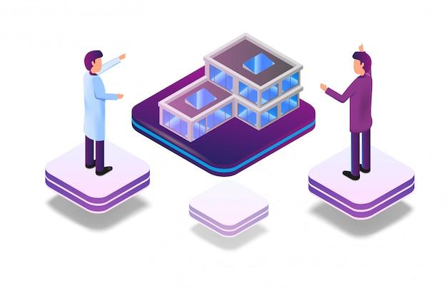 Realtà aumentata isometrica virtuale per architetto Vettore gratuito