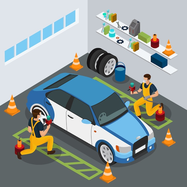Isometric auto service concept with professional workers painting car in uniform with spray guns isolated Free Vector