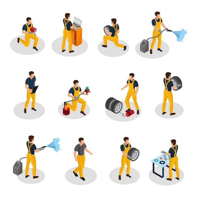 Isometric auto service people set with car painting diagnostic washing and tire changing procedures isolated Free Vector