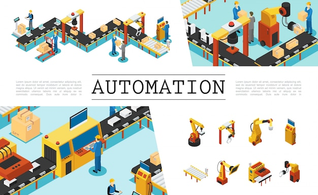 Isometric automated factory elements set with industrial assembly and packaging lines operators mechanical robotic arms Free Vector