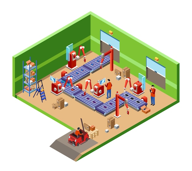 Isometric automatic assembly factory robotic line cross section concept Free Vector