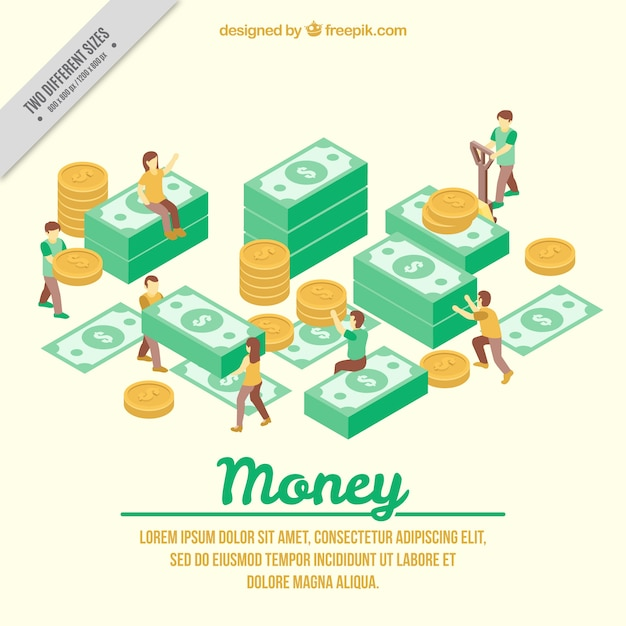 Isometric background of people with bills and coins Free Vector