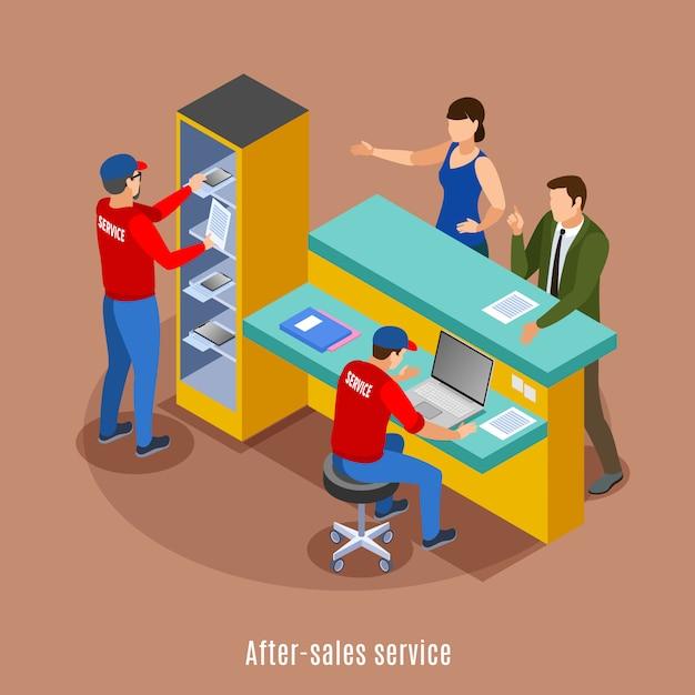Изометрические фон с розыгрышем раздаточных точек офисной среде с текстовой мебелью и человеческими персонажами Бесплатные векторы