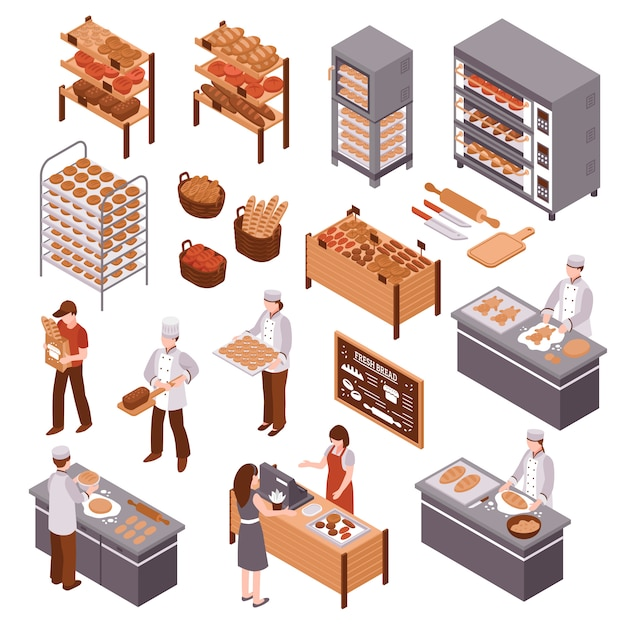 Isometric bakery set Free Vector